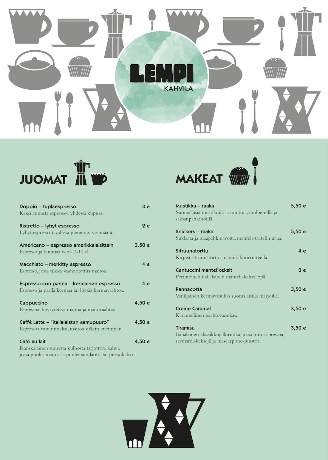 Lempi cafe menu_Inka Reijonen